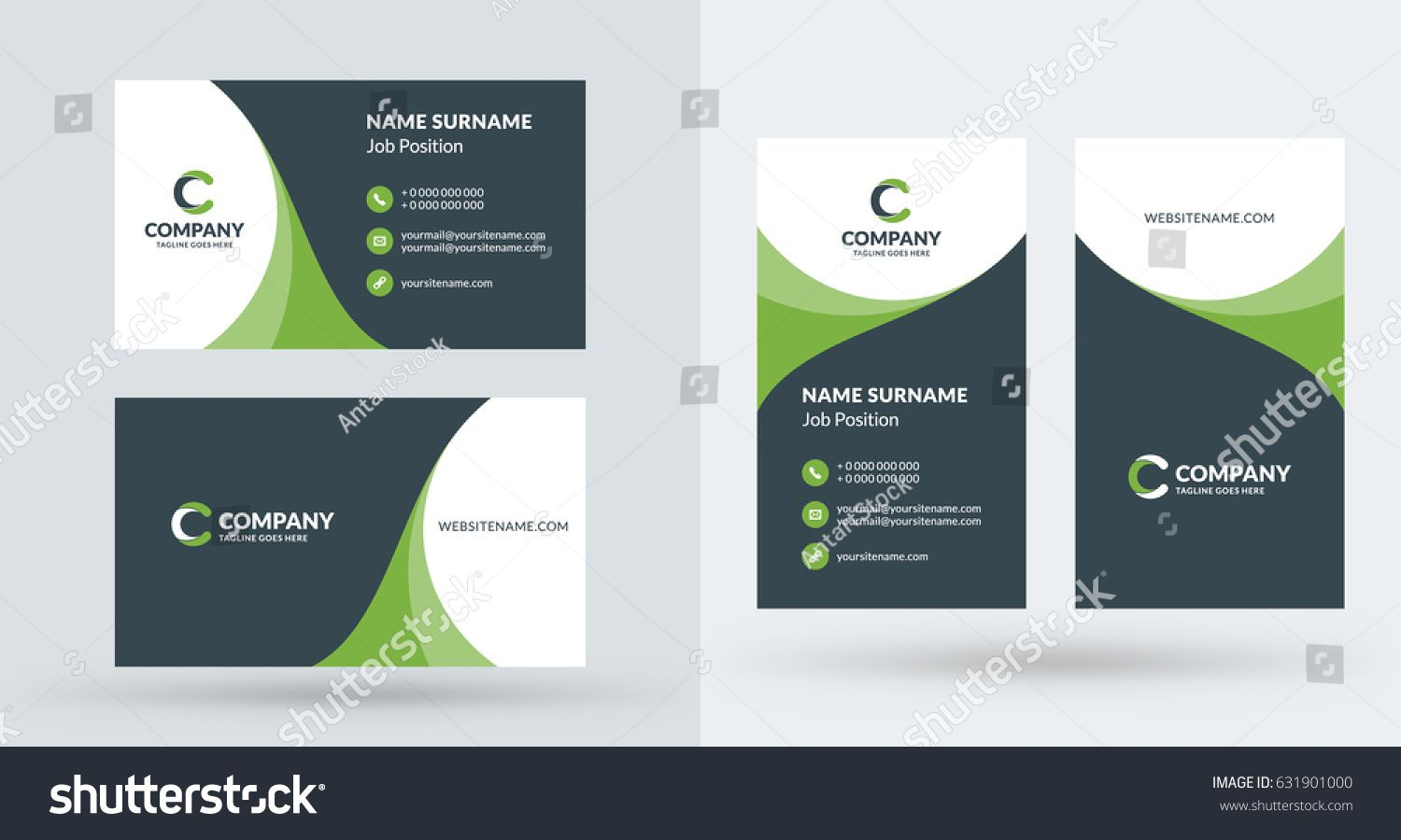 Double Sided Creative Business Card Template Portrait And Landscape Orientation H Business Cards Creative Templates Business Cards Creative Creative Business