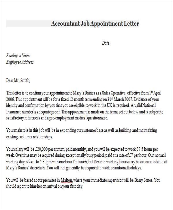 appointment letter format accountant letters template Home - proof of employment template