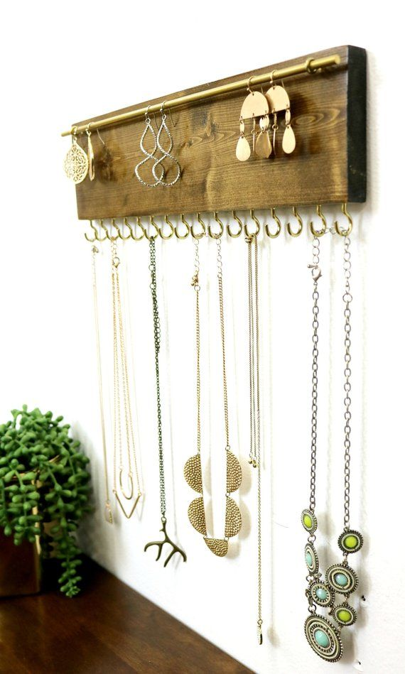 Jewelry Organizer Necklace Holder Wall Mounted Rustic Wood Necklaces Earrings Diy