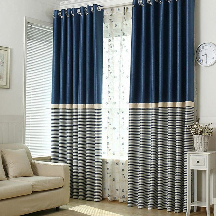 Brief Navy Blue Blackout Living Room Ready Made Striped Curtains