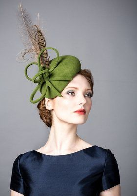 Luxury fascinators and milineries R14W1 - Green fur felt beret with  pheasant feathers a54964cfbc1