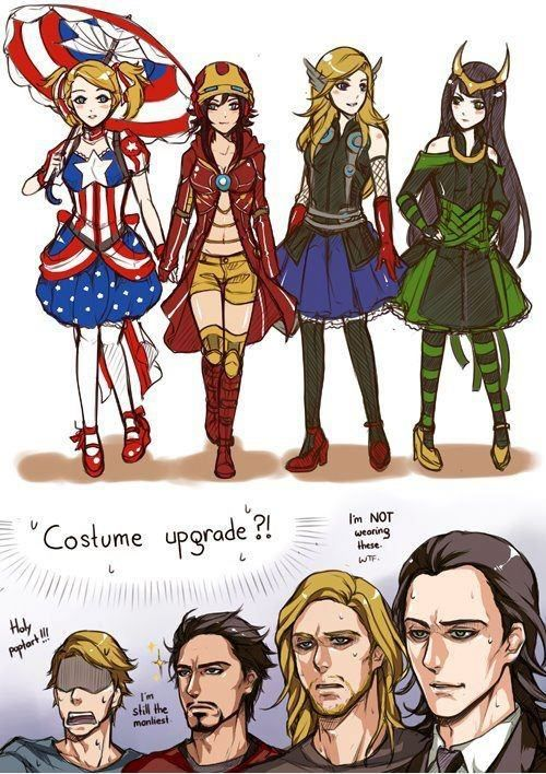 "Cap is freaking out, Tony's just like ""heh ok"" Thor is throughly confused and Loki's just thinking ""hot damn"""