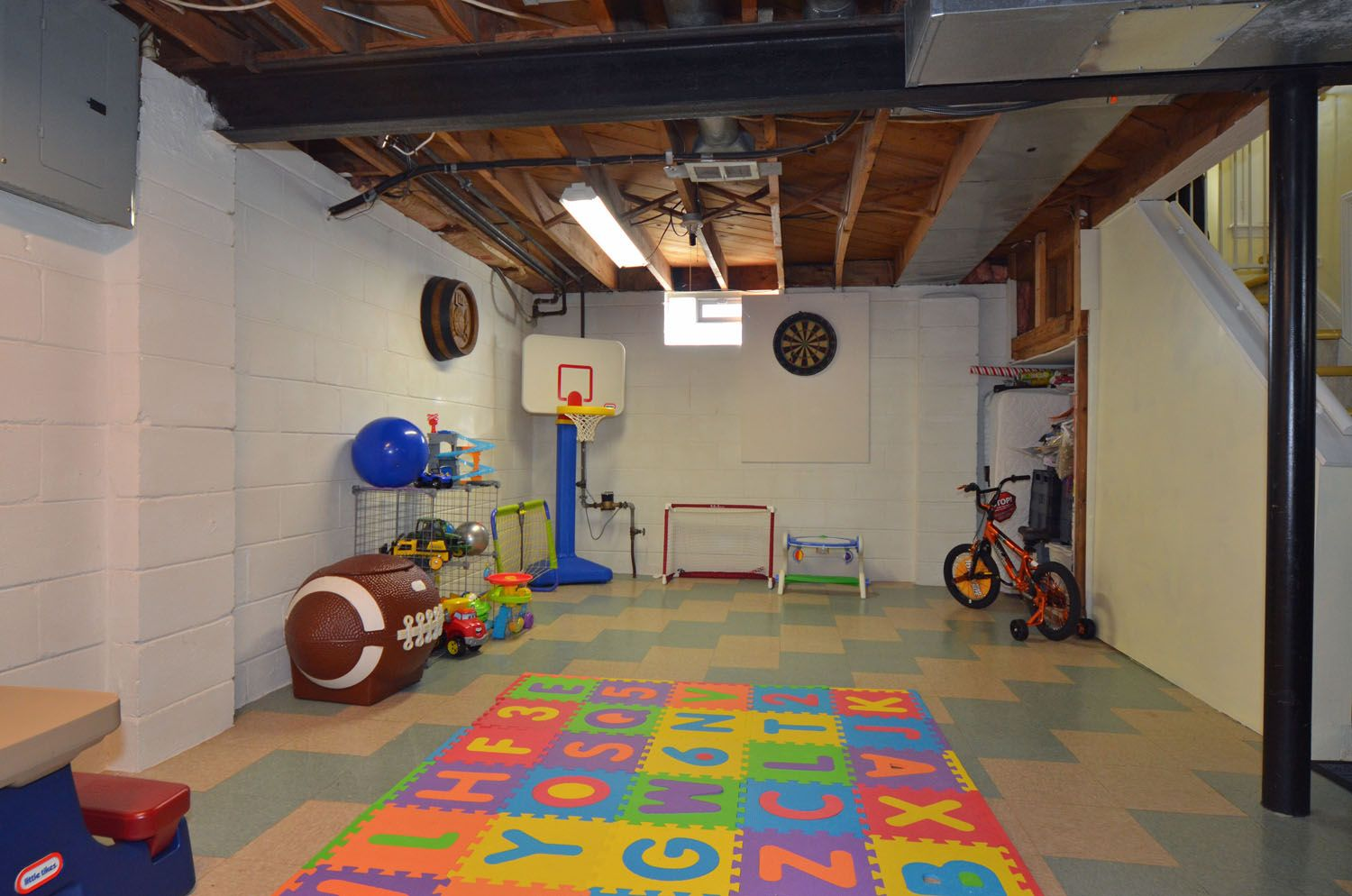 Image result for partially finished basement Basement