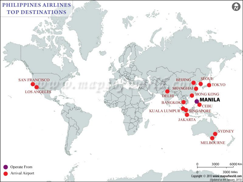 Philippine Airlines Major Destinations Map Airlines
