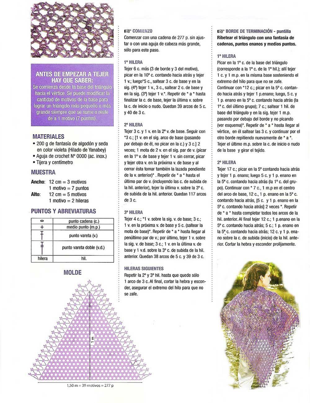 Único Triángulo Patrón Carenado Crochet Friso - Manta de Tejer ...
