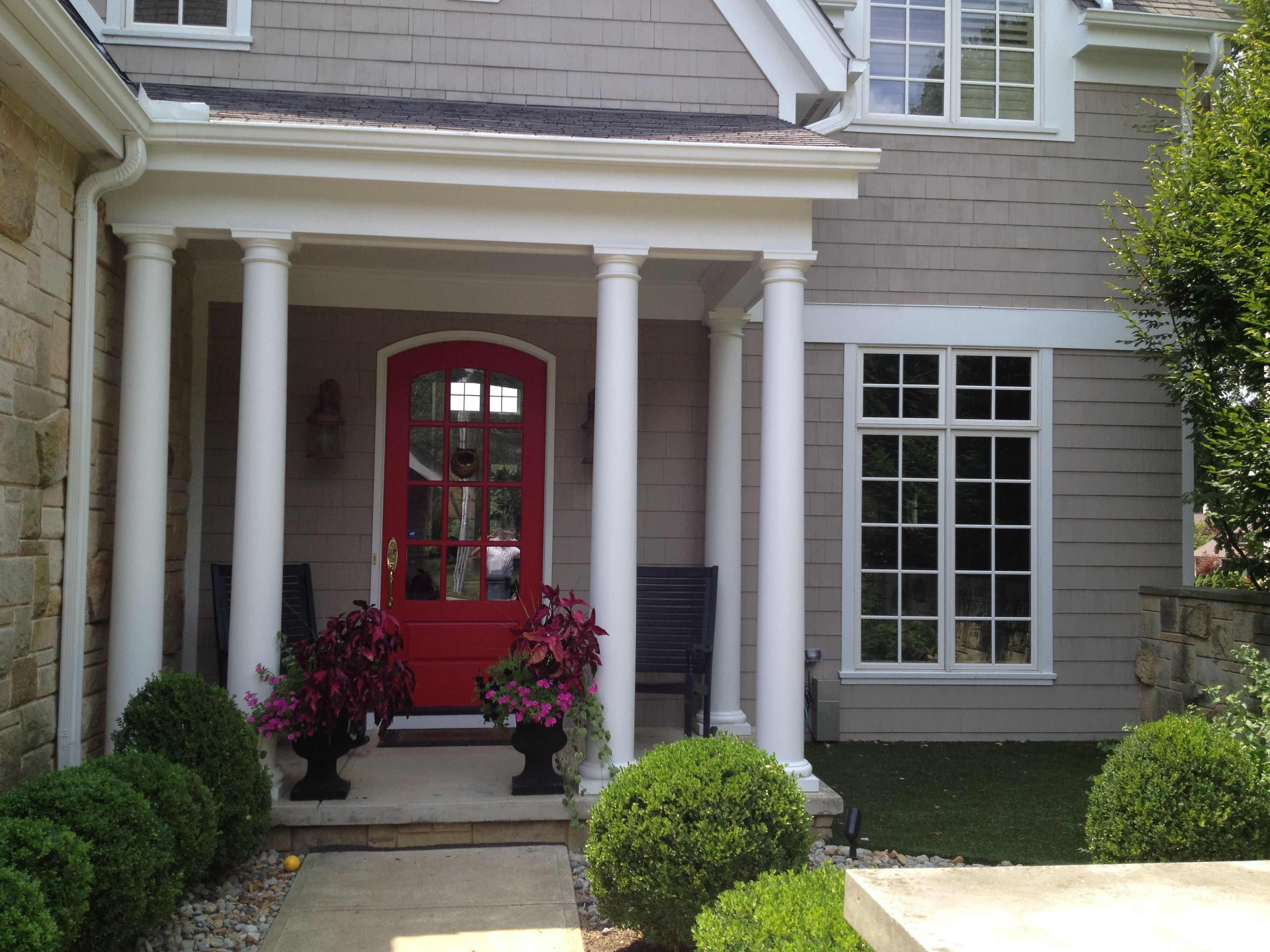 Exterior house color schemes with black shutters - Greige With White Trim And A Red Accent Door Black Or Dark Navy Shutters Would Exterior House Paint Colorsexterior Paint Ideasvinyl