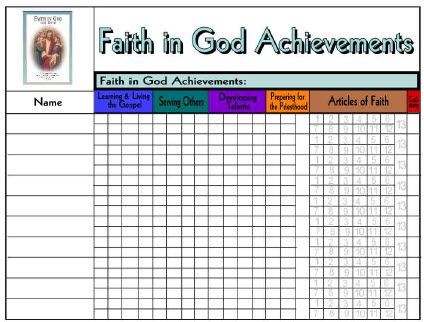 Faith in God Tracking Sheet for Boys | Cub Souts ...