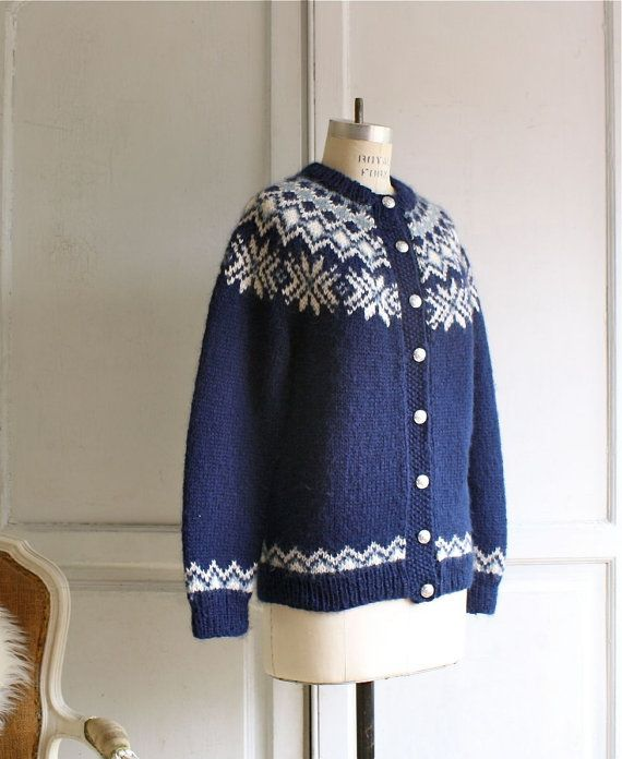 vintage scandinavian cardigan / chunky hand knit by bohemiennes, $55.00