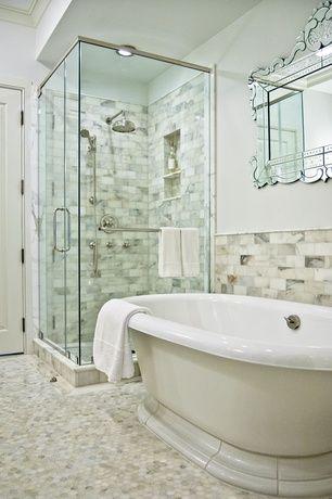 Art Deco Full Bathroom With Frameless Showerdoor Penny