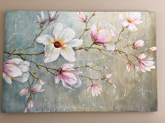 Magnolia Blossoms large hand painted floral oil painting on canvas by Nizamas
