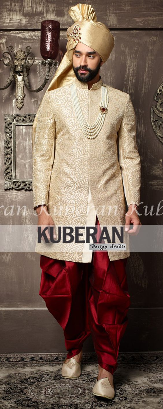 Light brown with maroon designer indian traditional wedding sherwani