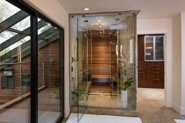 bad sauna planen glaswände ineinander gebaut bathROOM - küche mit dachschräge planen