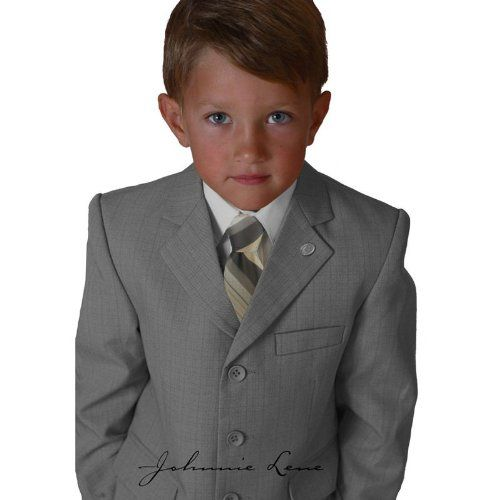 Johnnie Lene Silver Color Textured Suit Set for Boys From Baby to Teen $54.99 - $64.99
