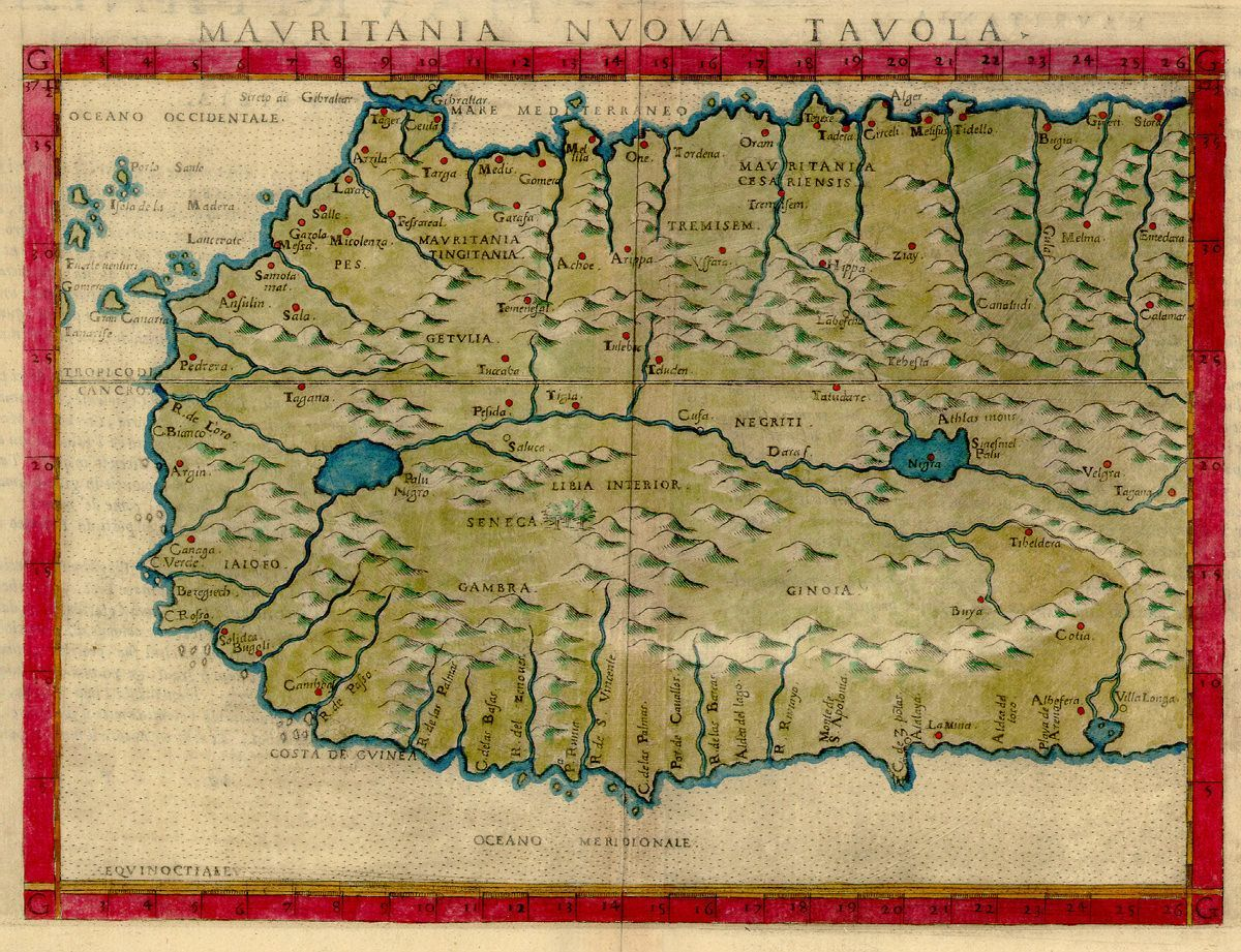 1561 map of West Africa by Girolamo Ruscelli #africa #westafrica #map  #VintageVacation