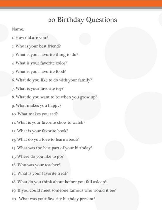 Birthday interview questions ask your kids these questions every - restaurant interview questions