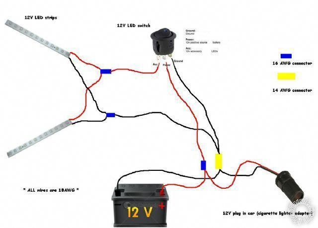 Connecting Led Strip To 12 Volt Car Battery Power Supply Wiring Diagram Google Search Car Battery Car Battery Maintenance