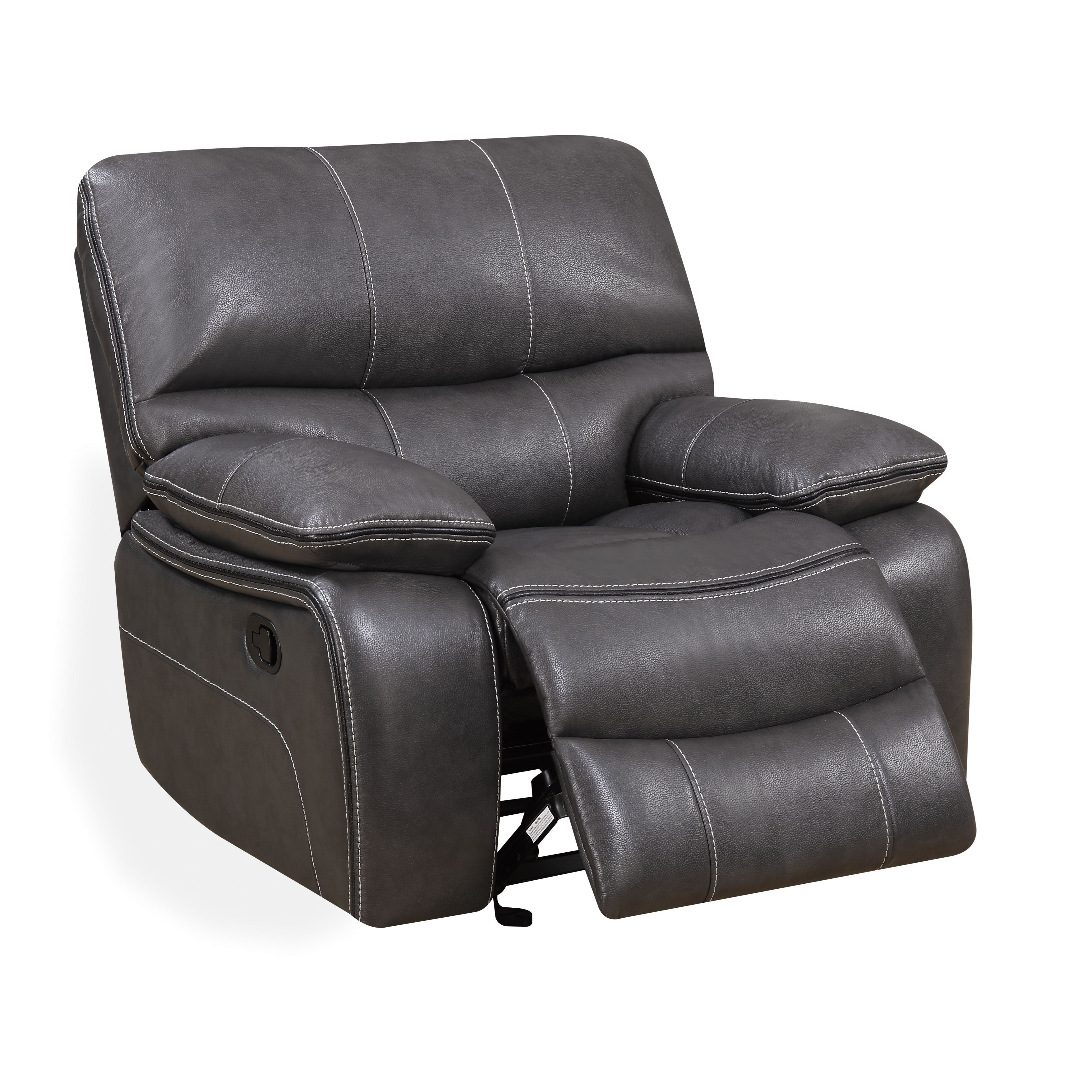 This recliner chair is offered in an elegant medium grey, making coordinating room decor effortless and enjoyable. If your living room/den/loft area needs a change of scenery, this charming glider/recliner chair is the perfect choice for your home.