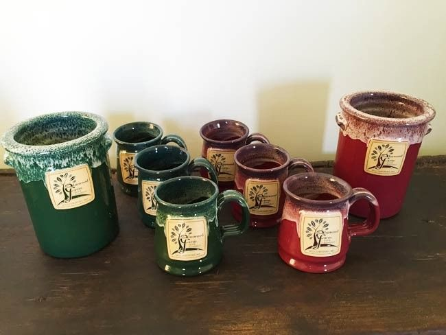 Pottery mugs $15 and Wine coolers $35