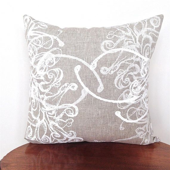 Australian Floral Cushion Cover. White On Natural Linen