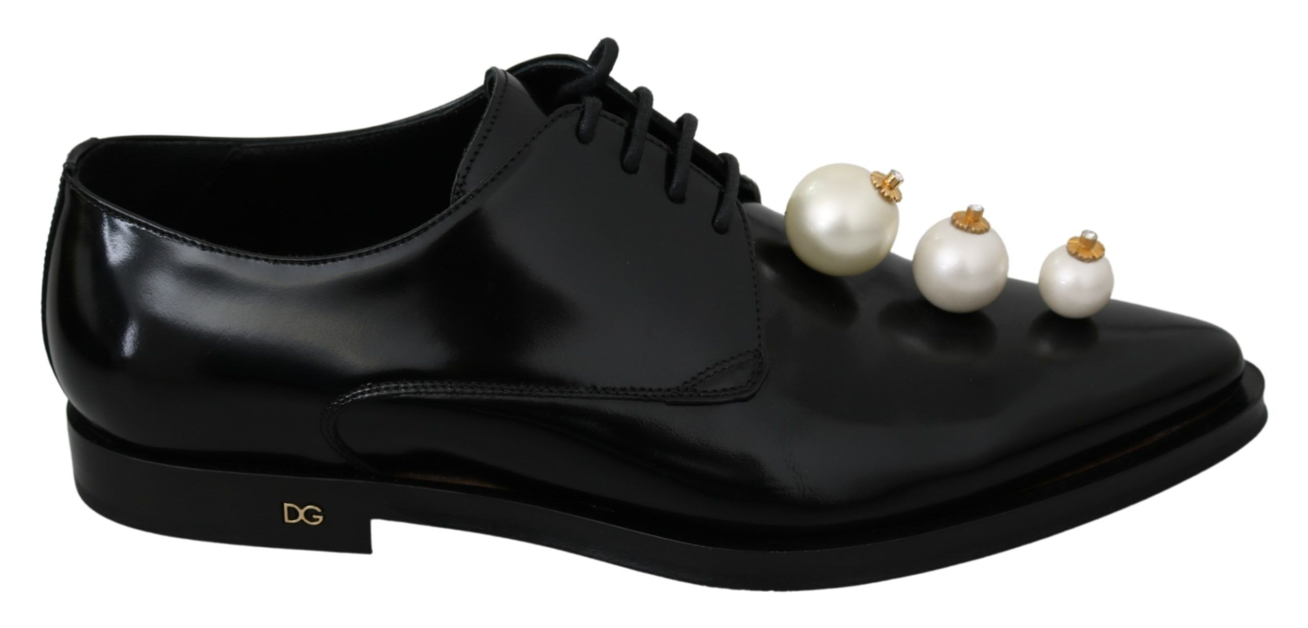 Dolce & Gabbana Black Leather Pearl Studs Lace Up Formal Shoes – EU39/US8.5