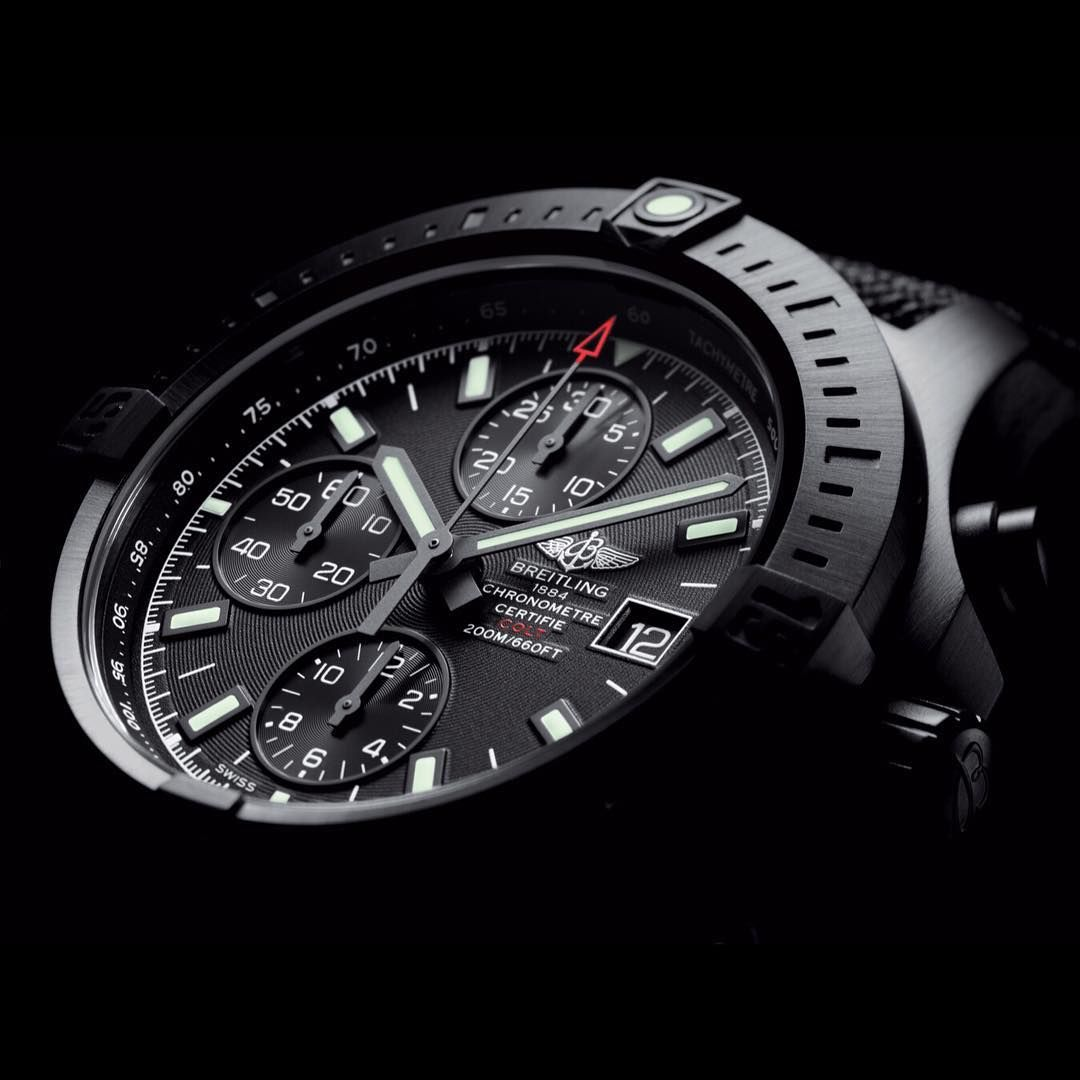 Discover a preview of the new Colt Chronograph Automatic Blacksteel ! More information to come tomorrow on Breitling.com #Colt #Breitling #InstrumentsforProfessionals