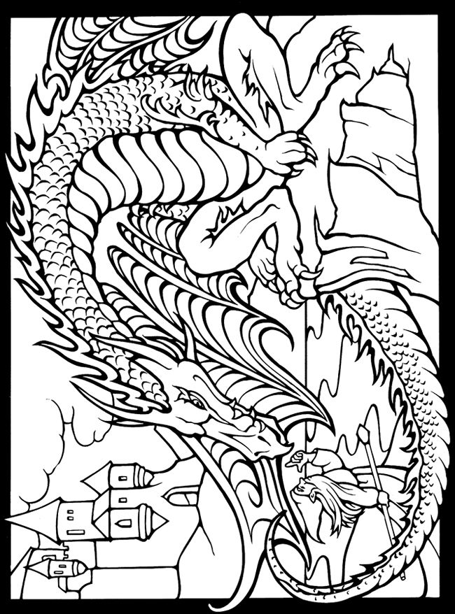 This Dover Coloring Box Includes A 11 X 16 Two Sided Color Your Own Dover Coloring Pages Dragon Coloring Page Coloring Pages