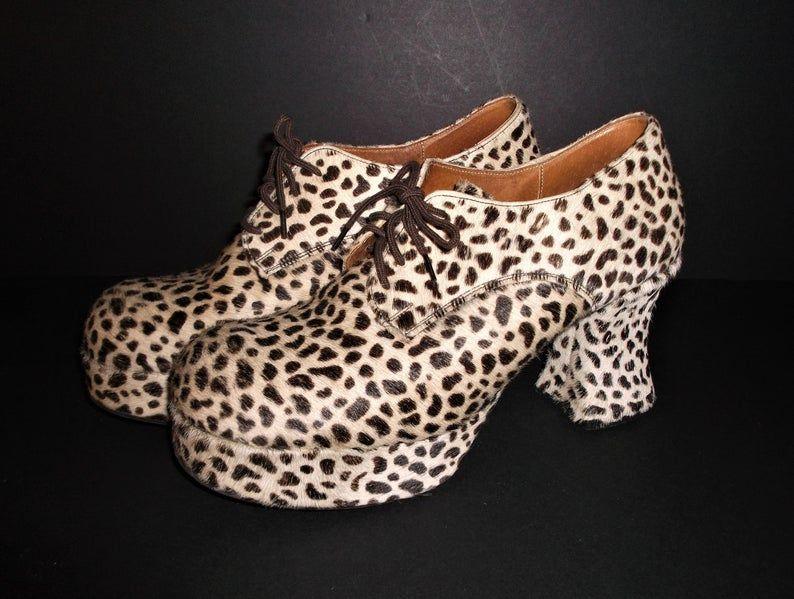 70s Platform Shoes Size 9 Leopard Print