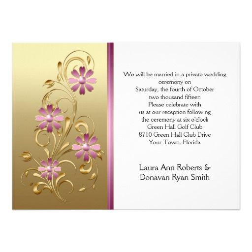 Gold with Pink Flowers Reception Only