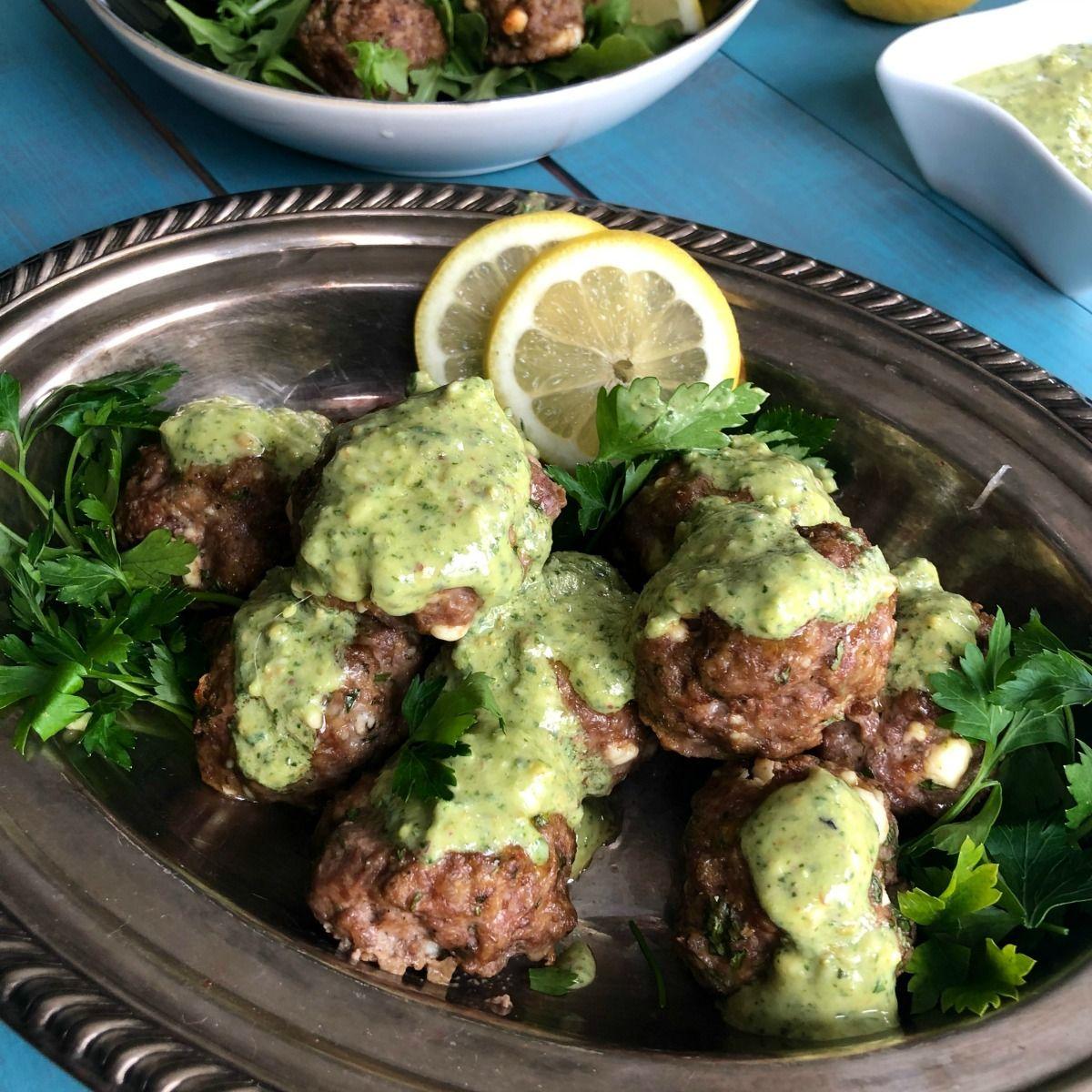 Greek Feta Lamb Meatballs With Mint Pesto Keto And Paleo Friendly Recipe Lamb Meatballs Ground Lamb Recipes Mediterranean Diet Recipes