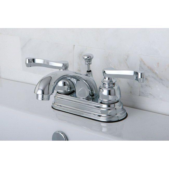 Kingston Br French Handles Chrome Grey Bathroom Faucet Lever