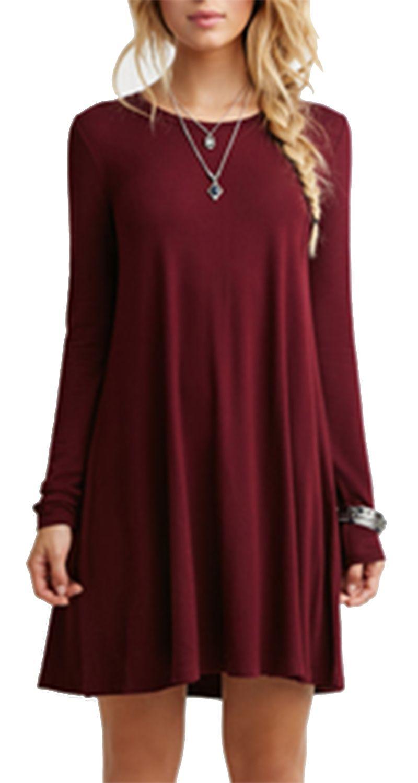 Burgundy Long Sleeve Casual Babydoll Dress Green Long Sleeve Dress Casual Dresses Fashion [ 1500 x 800 Pixel ]