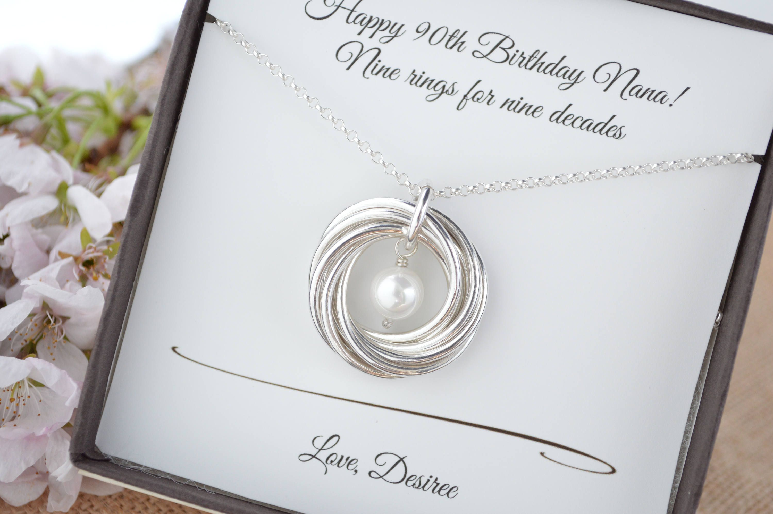 90th birthday gift for mom and grandma necklace 9 rings
