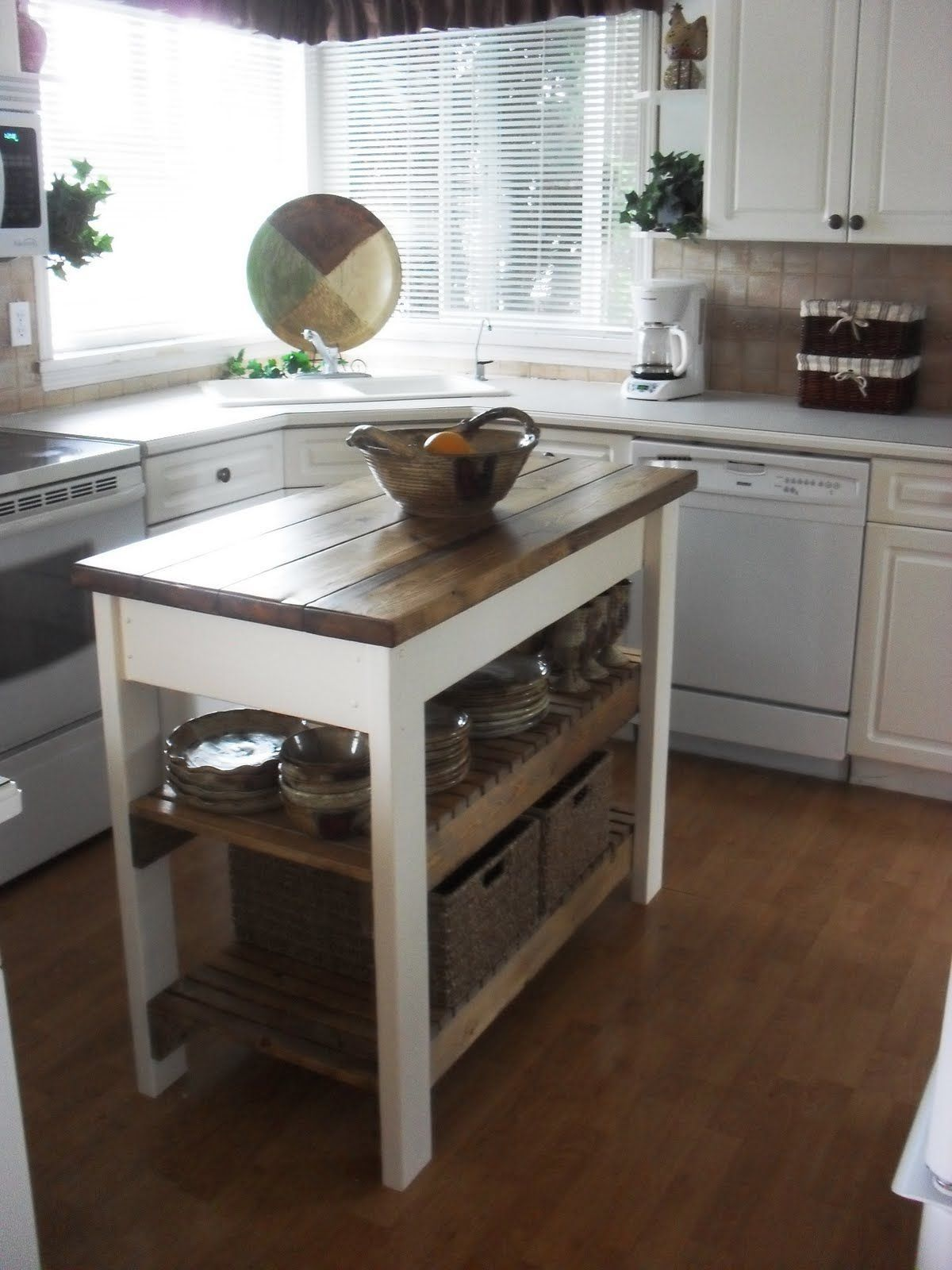 Small Kitchen Island Table With Butcher Block Tops And Two Bottom Shelves