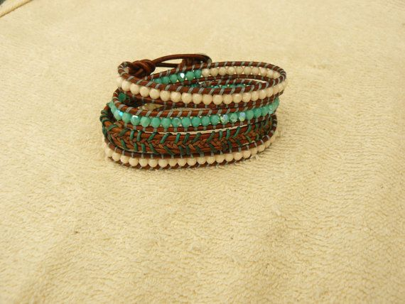 Leather Wrap Bracelet  Shabby Chic Boho Cowgirl by hitidecreations, $80.00
