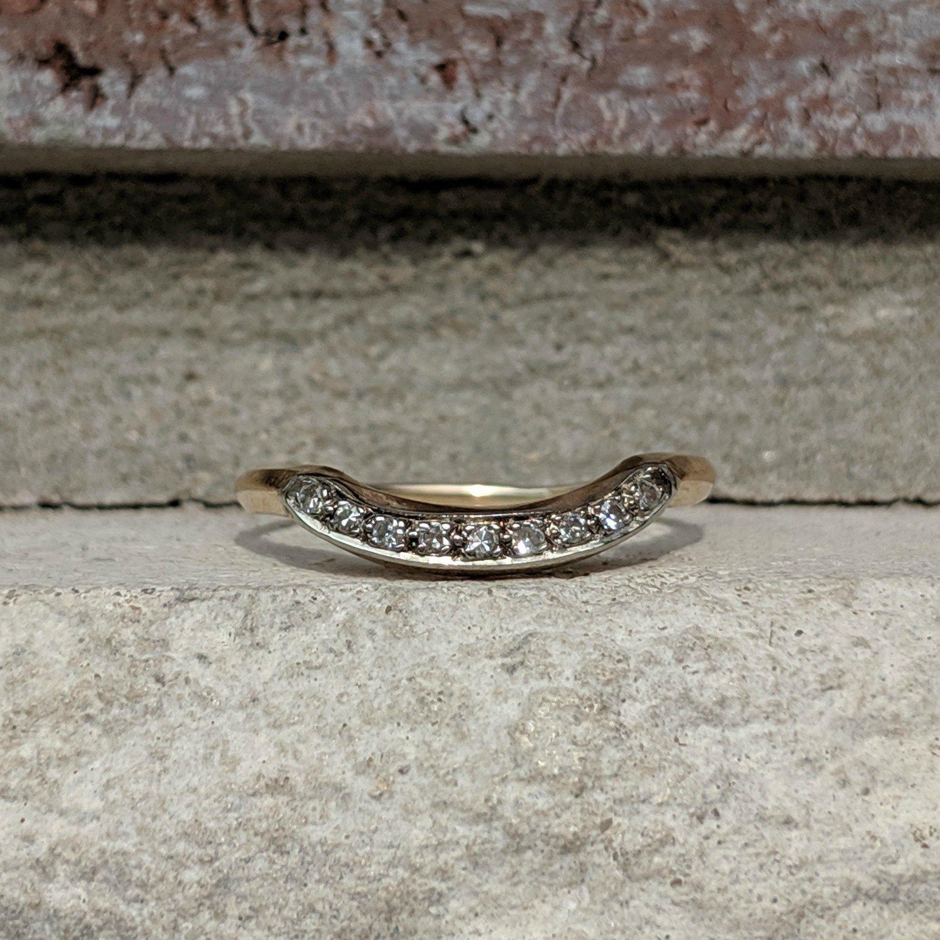 Vintage Curved Contoured Wedding Band Ring Antique