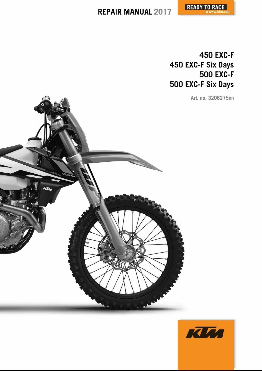 2017 KTM 450-500 EXC-F XCF-W Six Days SERVICE REPAIR MANUAL