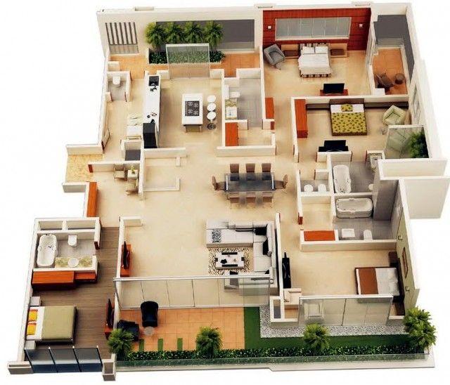 4 Bedroom House Layout Google Search 3d House Plans House Blueprints Apartment Floor Plans