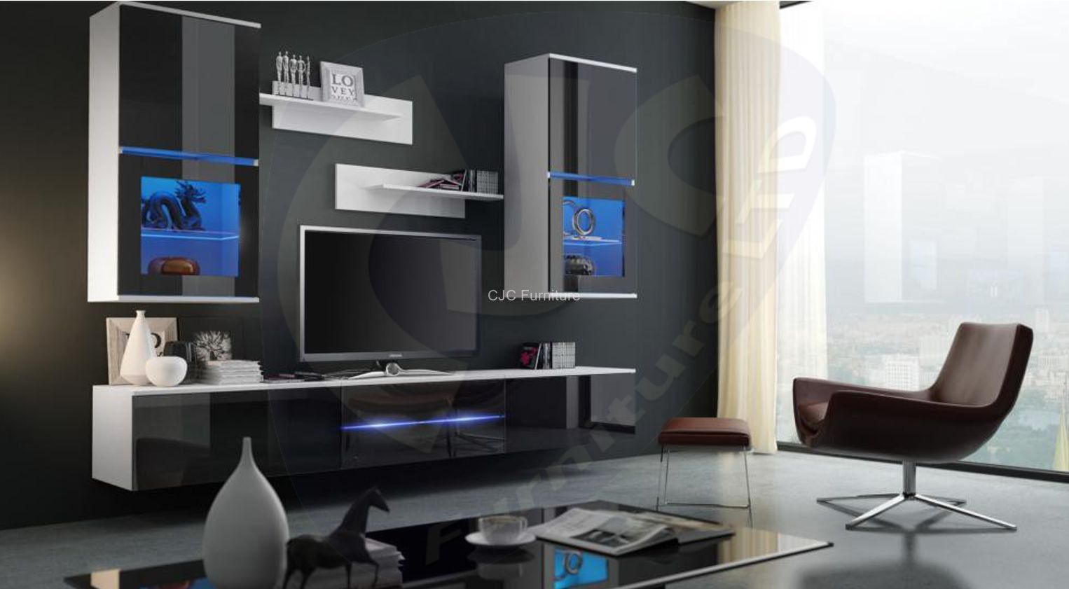Living Room Furniture Set Wall 3 Section Tv Unit Cabinet Shelves Black &  White