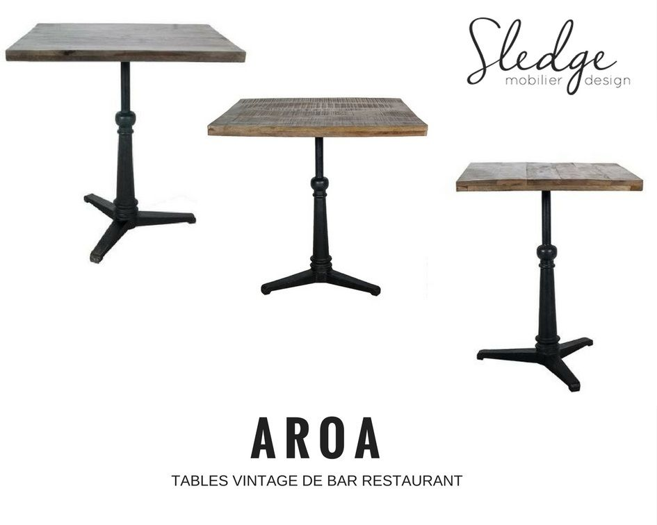 Table restaurant bois brut table vintage pour chr for Table restaurant professionnel
