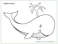 Free printable whales to color and use for crafts and
