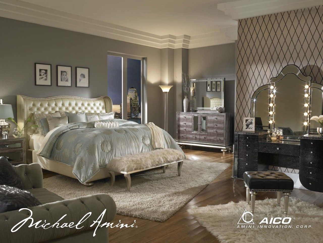 high end bedroom furniture brands. AICO Hollywood Swank 4pc Upholstered Platform Bedroom Set In Creamy Pearl - Collection Furniture Brands High End