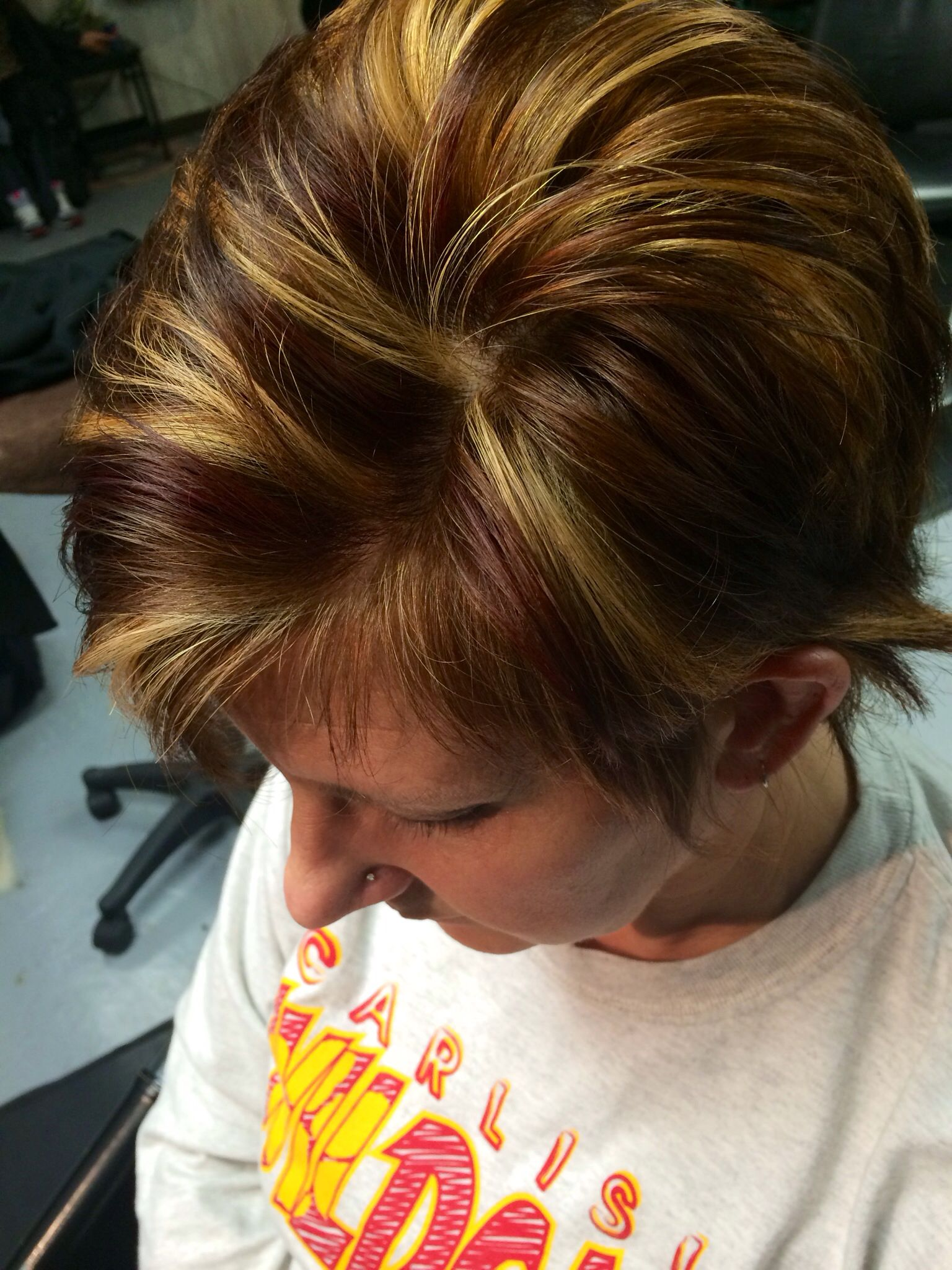 Short hair kenra color blonde brown red hairbeauty pinterest