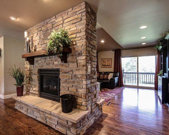 Amazing Indoor Stone Fireplace Designs Captivating Double