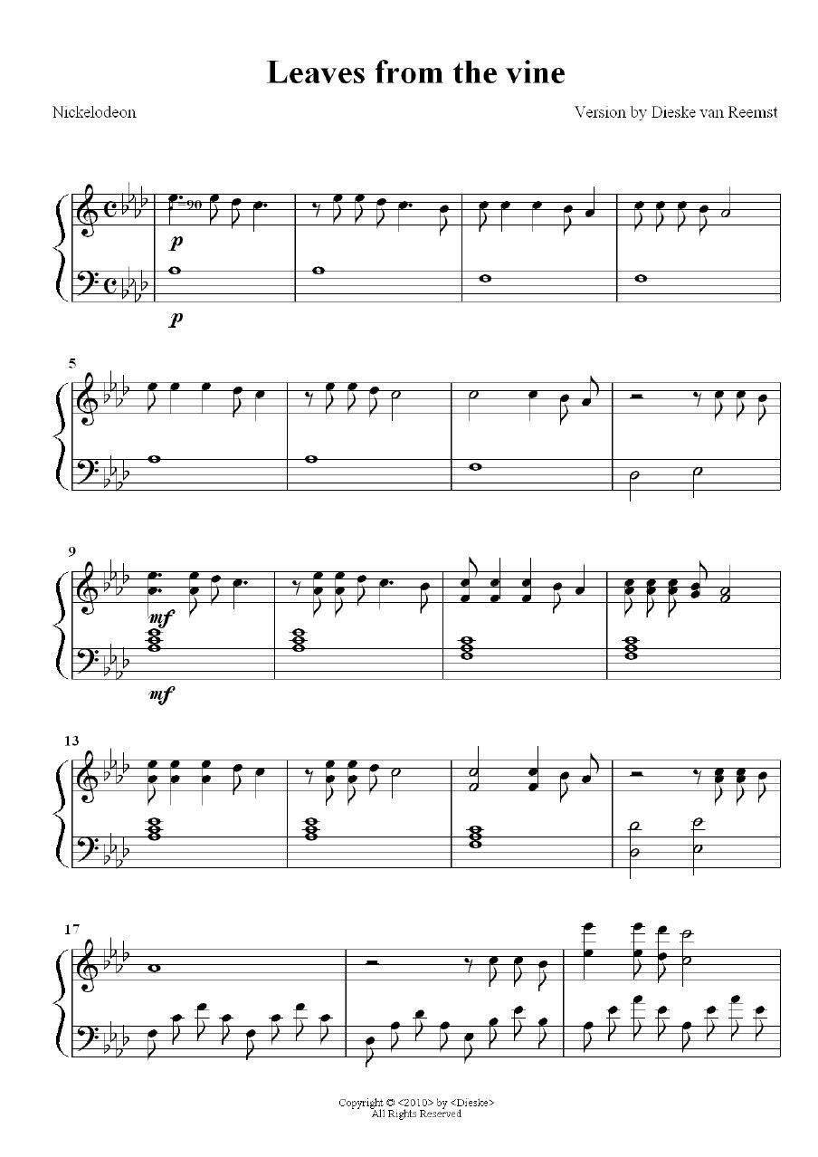 Sheet music from Leaves from the vine | Sheet music | Piano