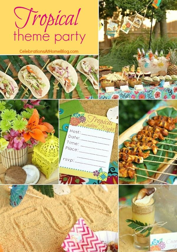 tropical themed party ideas free printables summer party ideas