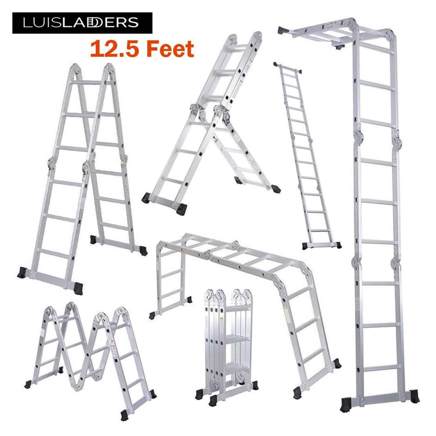 Luisladders Aluminum Safety Locking Hinges Multi Purpose Folding Extendable Multi Purpose Ladder Ladder Aluminum Extension