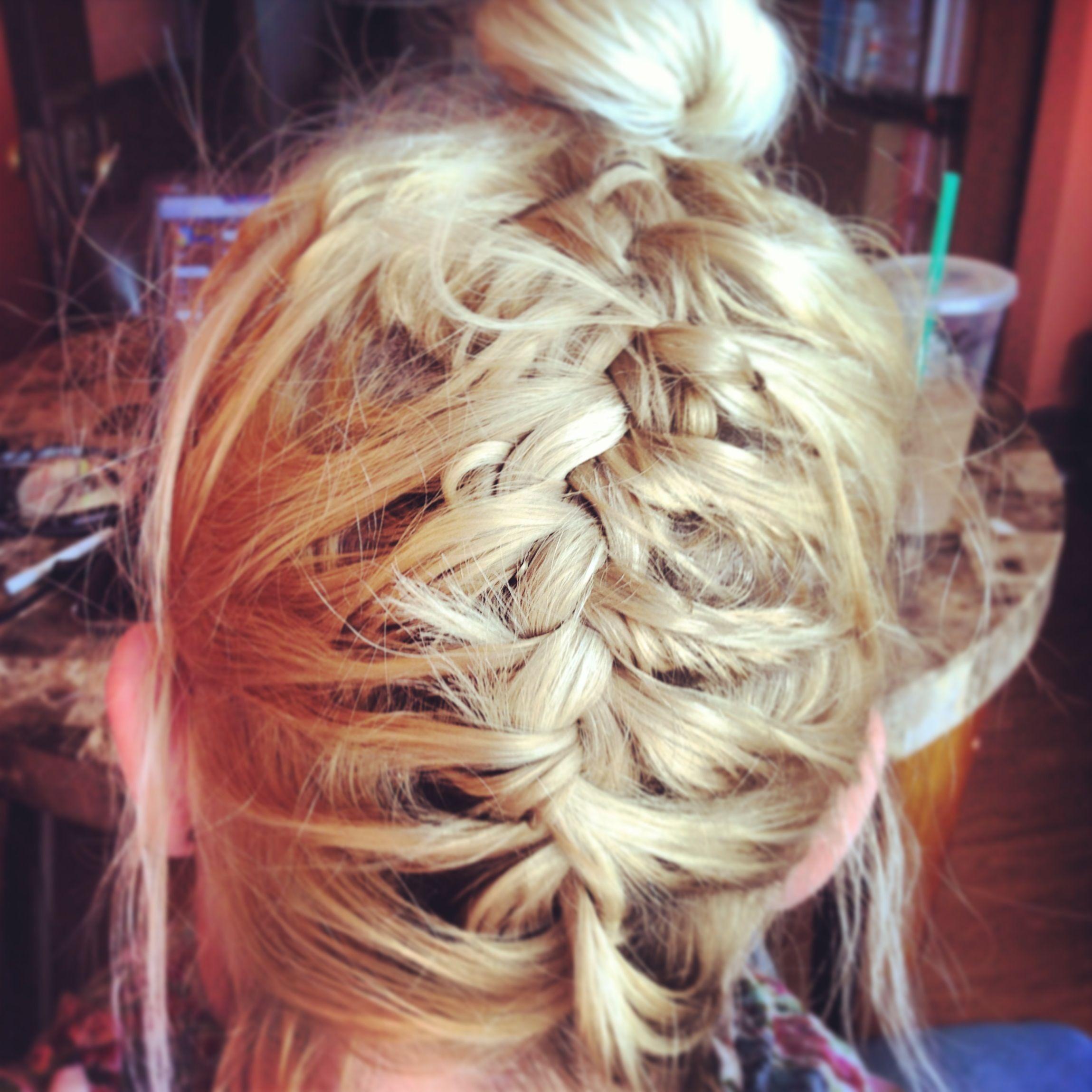 Upside Down French Braid And A High Bun Blonde Hair FridayFun Do - Bun hairstyle games