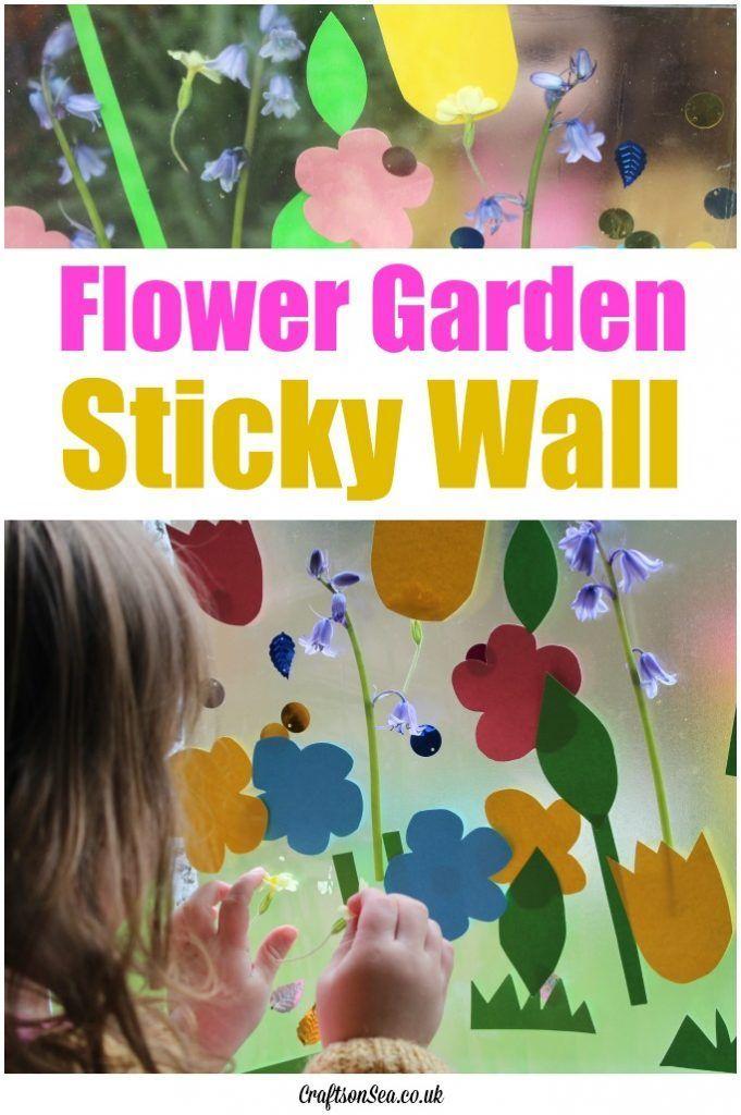 Flower garden sticky wall sensory activities activities and flower for Garden activities for toddlers