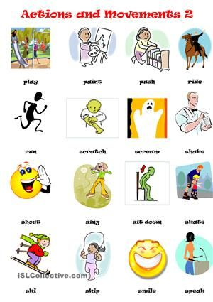 ACTIONS \ MOVEMENTS PICTIONARY 2 action verbs Pinterest - action verbs list