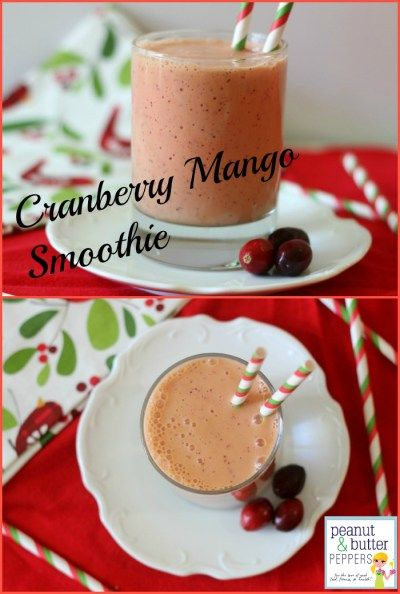 Cranberry Mango Smoothie - A slightly tart, creamy smoothie that has hints of mango and finishes off with a vanilla flavor. Fresh cranberries are added to the smoothie for the red specks and color.